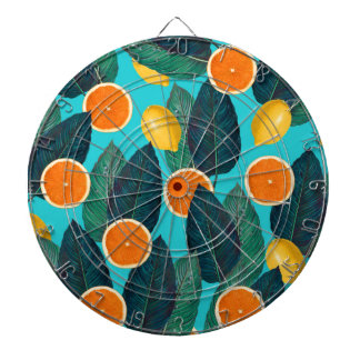 lemons and oranges teal dartboard