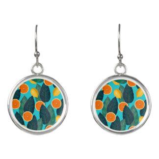 lemons and oranges teal earrings