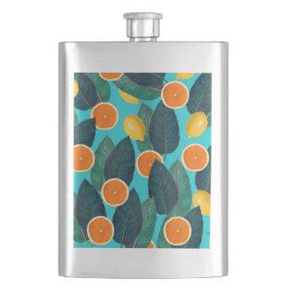lemons and oranges teal hip flask