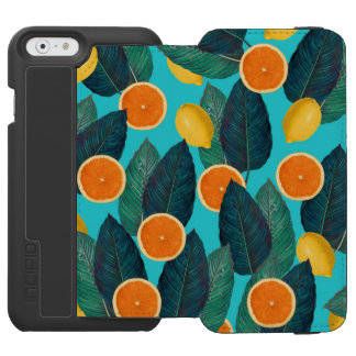 lemons and oranges teal incipio watson™ iPhone 6 wallet case