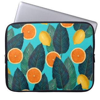 lemons and oranges teal laptop sleeve