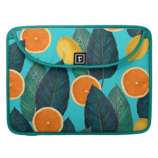 lemons and oranges teal sleeve for MacBook pro