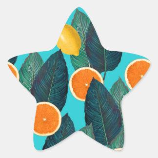 lemons and oranges teal star sticker