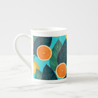 lemons and oranges teal tea cup