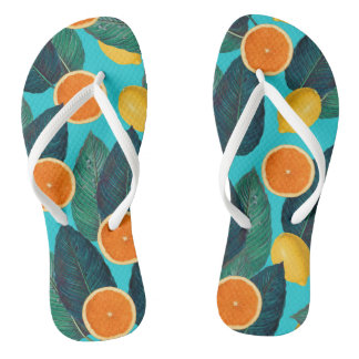lemons and oranges teal thongs
