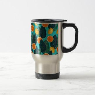 lemons and oranges teal travel mug
