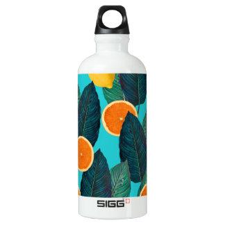 lemons and oranges teal water bottle