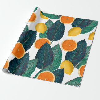 Lemons And Oranges White Wrapping Paper