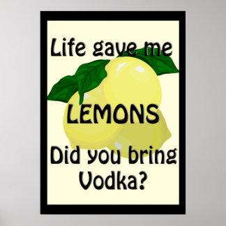 Lemons and Vodka Funny Poster 20 x 28