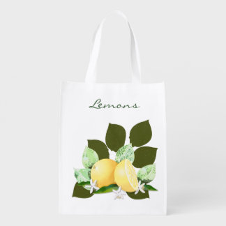 Lemons Citrus Fruits Botanical Garden Reusable Grocery Bag