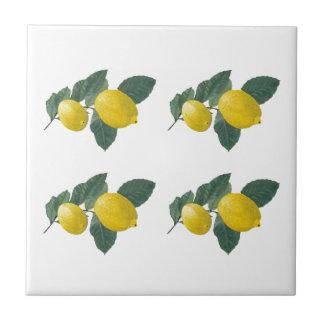 Lemons on a branch small square tile