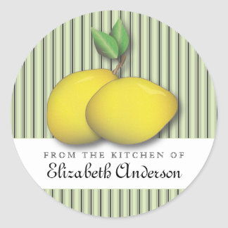Lemons on Green Baking Chic From the Kitchen Label Round Sticker