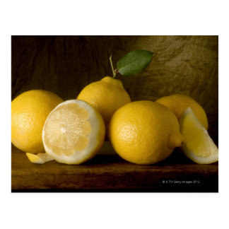 lemons on wood postcard