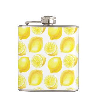 Lemons pattern design hip flask