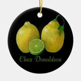 Lemons Still Life Oil on Canvas Painting custom Ceramic Ornament
