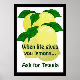 Lemons Tequila Funny Poster 20 x 28