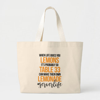 Lemons to Lemonade Large Tote Bag