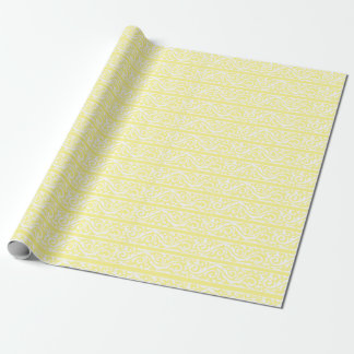 Lemony Yellow Swirls Pattern Wrapping Paper