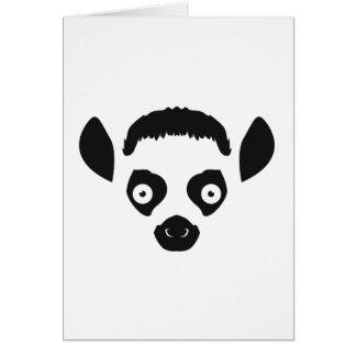 Lemur Face Silhouette Card