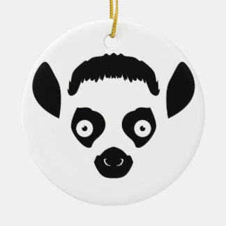 Lemur Face Silhouette Ceramic Ornament