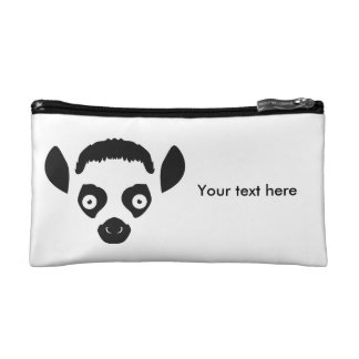 Lemur Face Silhouette Cosmetic Bag