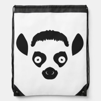 Lemur Face Silhouette Drawstring Bag
