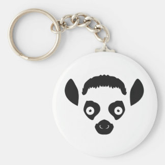 Lemur Face Silhouette Key Ring