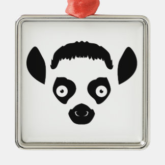 Lemur Face Silhouette Metal Ornament
