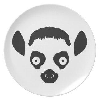 Lemur Face Silhouette Plate