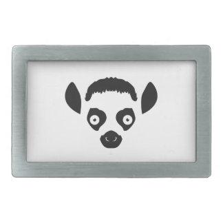 Lemur Face Silhouette Rectangular Belt Buckle