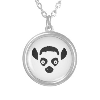 Lemur Face Silhouette Silver Plated Necklace