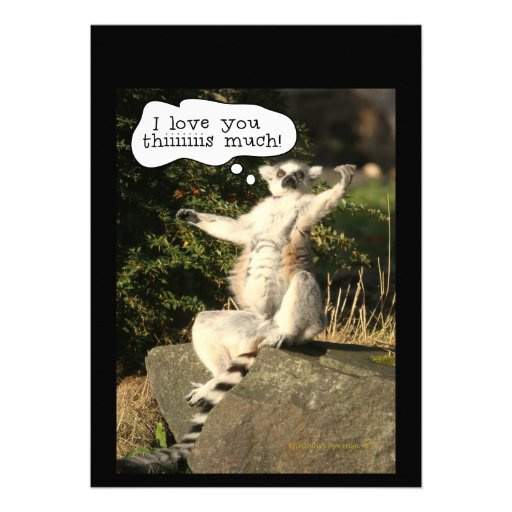 Lemur Love You This Much Funny  Fathers Day Personalized Announcements