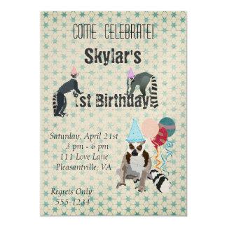 """Lemurs Birthday Vintage Invitation 5"""" X 7"""" Invitation Card"""