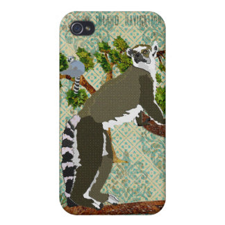 Lemurs Blue Damask iPhone Case Covers For iPhone 4