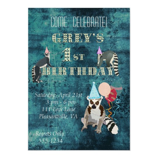 Lemurs Navy Birthday Invitation
