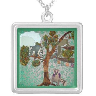Lemurs of a Boho Jade Forest Square Pendant Necklace