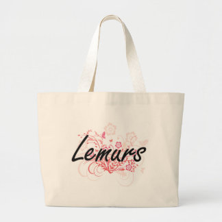 Lemurs with flowers background jumbo tote bag