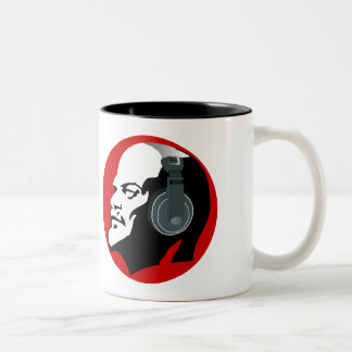 LENIN WITH HEADPHONES (RED) Two-Tone Mug