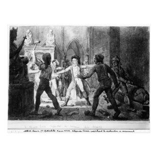 Lenoir opposing the destruction of royal tombs postcard