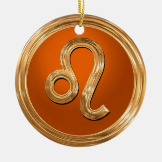 Leo Astrological Symbol Round Ceramic Decoration