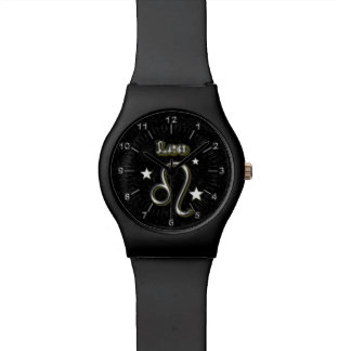 Leo chrome symbol watch