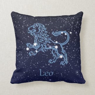 Leo Constellation and Zodiac Sign with Stars Throw Pillow