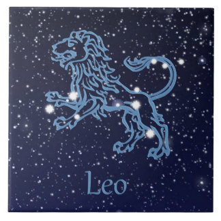 Leo Constellation and Zodiac Sign with Stars Tile