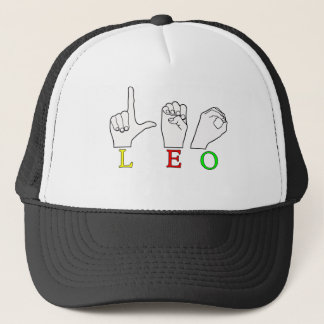 LEO FINGERSPELLED ASL NAME SIGN TRUCKER HAT