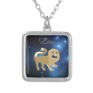 Leo golden sign square pendant necklace