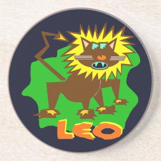 Leo Horoscope Sign Funny Lion Sandstone Coaster