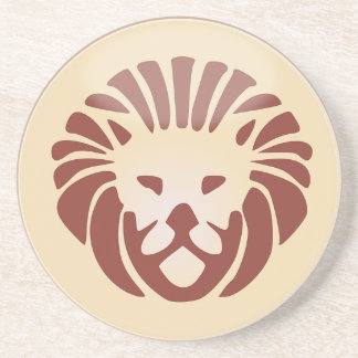 Leo Horoscope Sign Gold & Black Sandstone Coaster