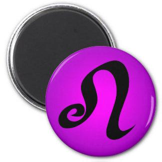 Leo Horoscope Sign Magenta Purple 6 Cm Round Magnet