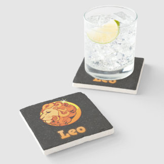 Leo illustration stone coaster