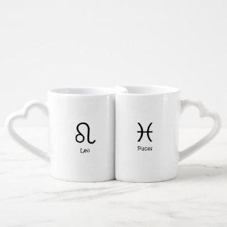 Leo Lion & Pisces the fish Zodiac Astrology Coffee Mug Set